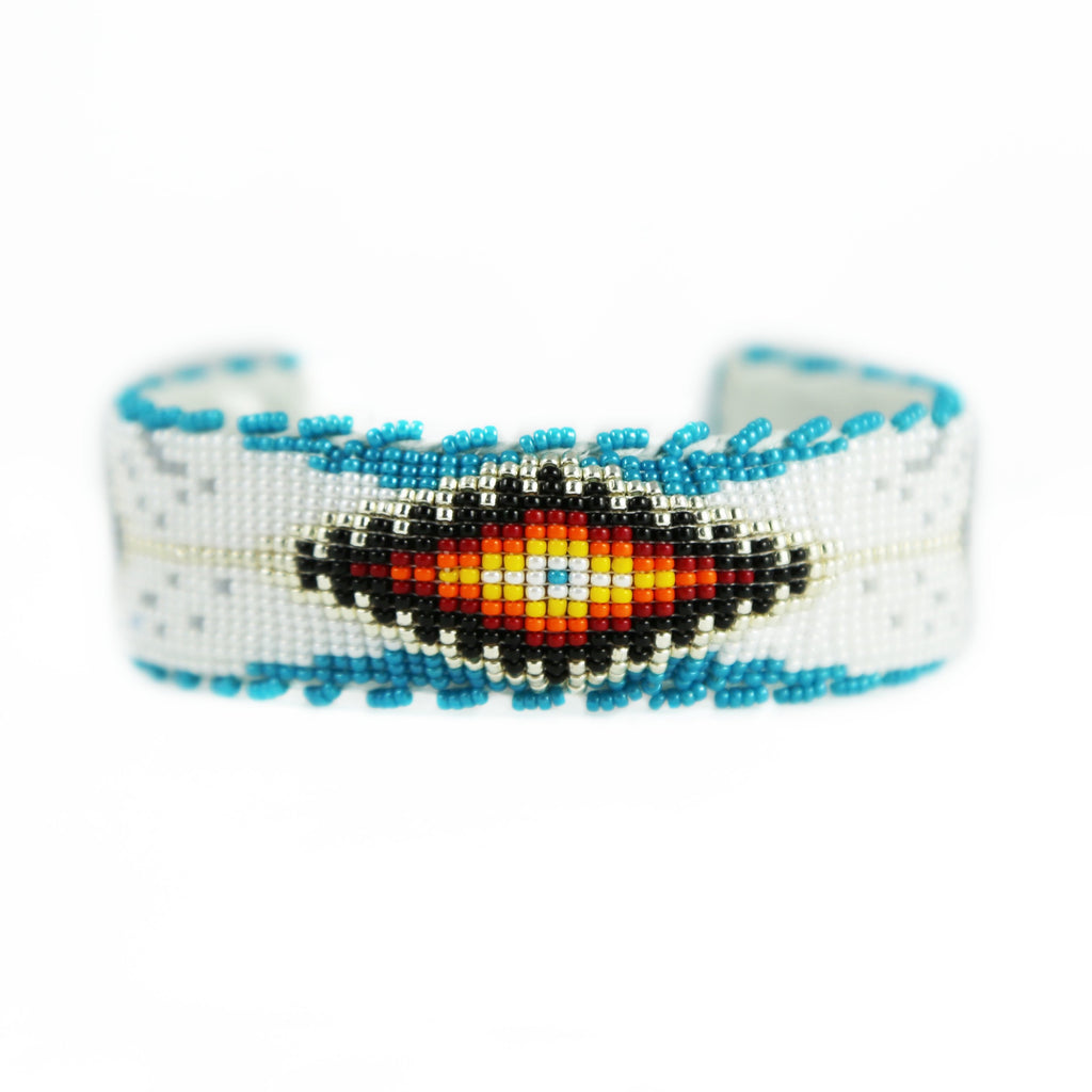 Raised Feather Beaded Cuff Bracelet