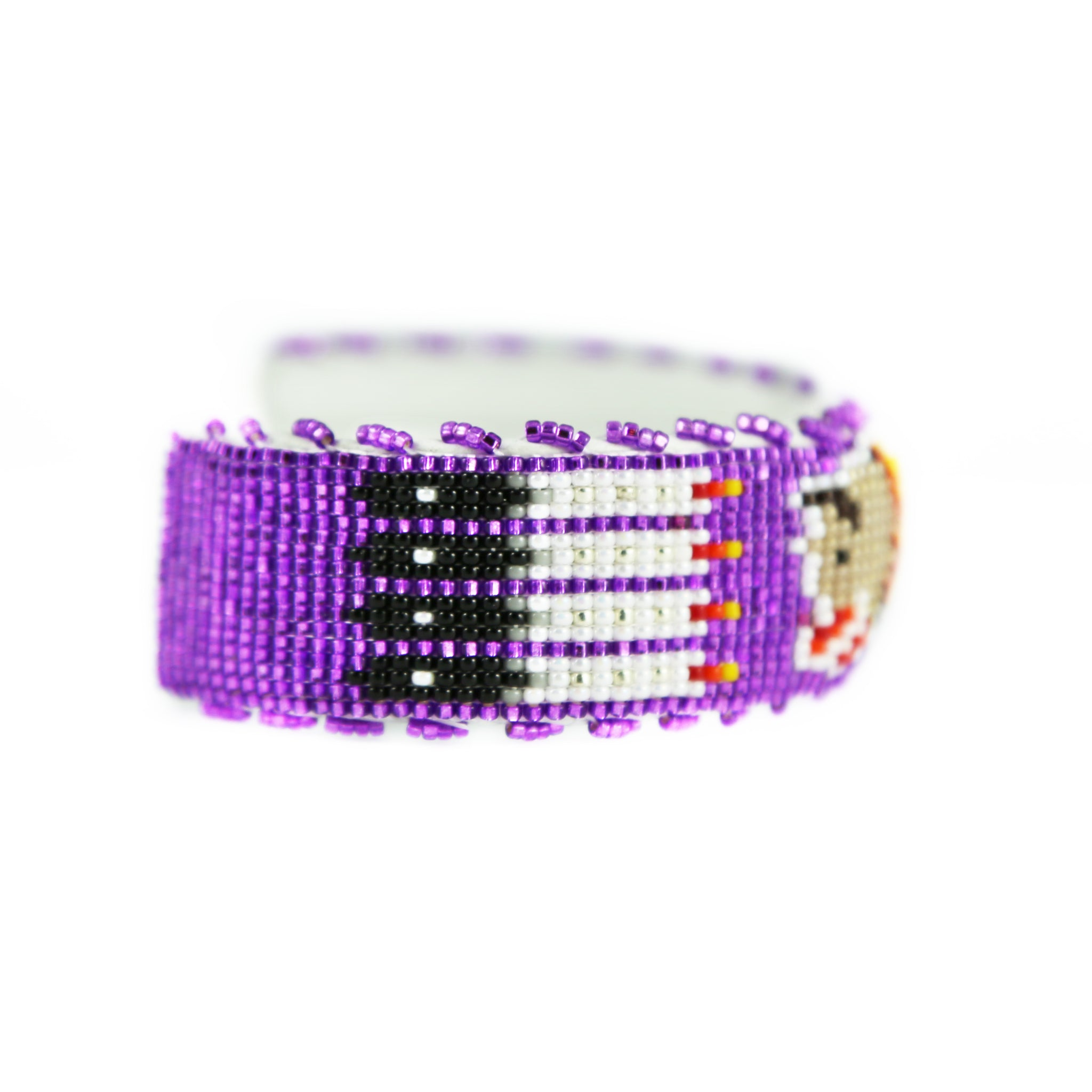 Raised Purple Buffalo Beaded Cuff Bracelet