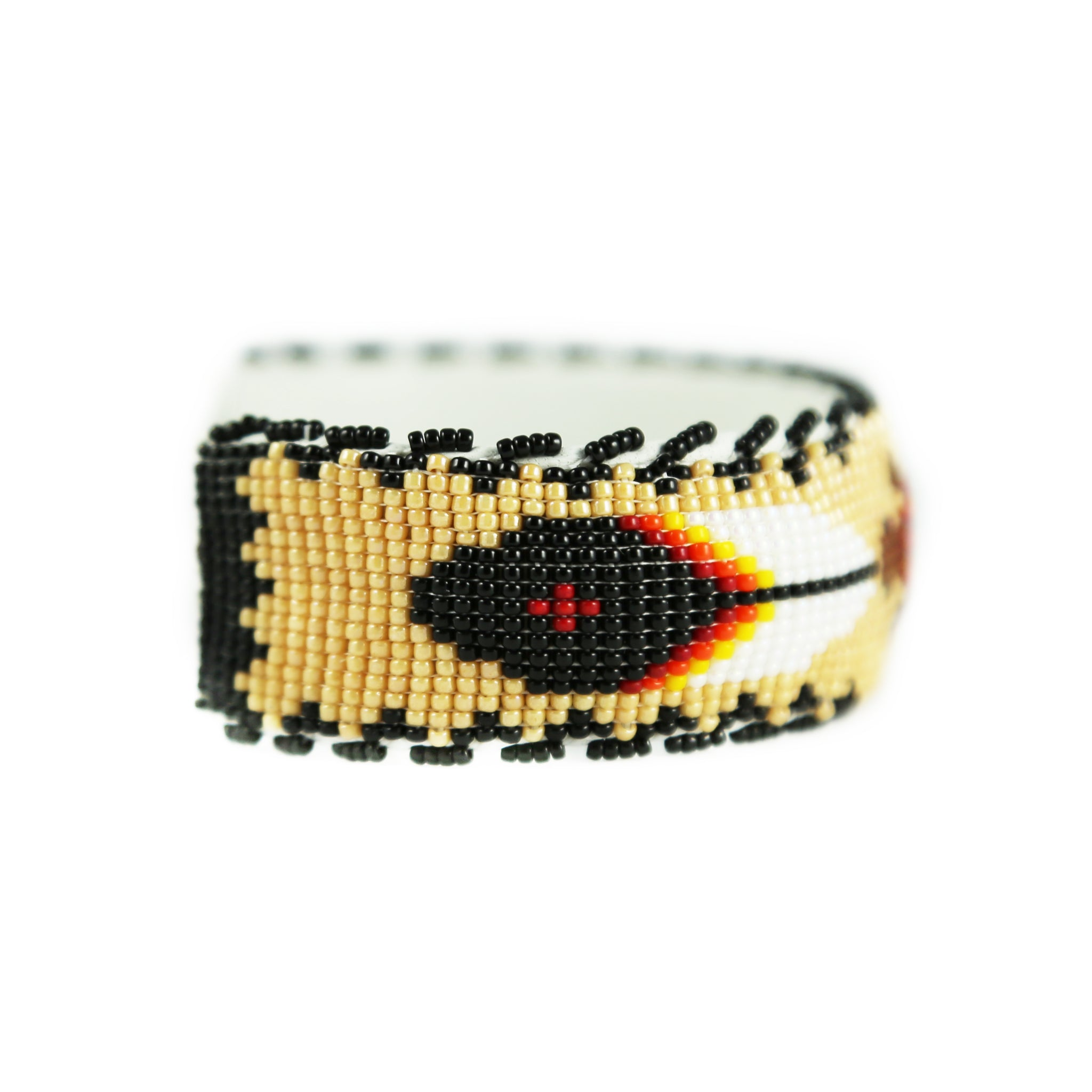 Raised Tan Turtle Beaded Cuff Bracelet