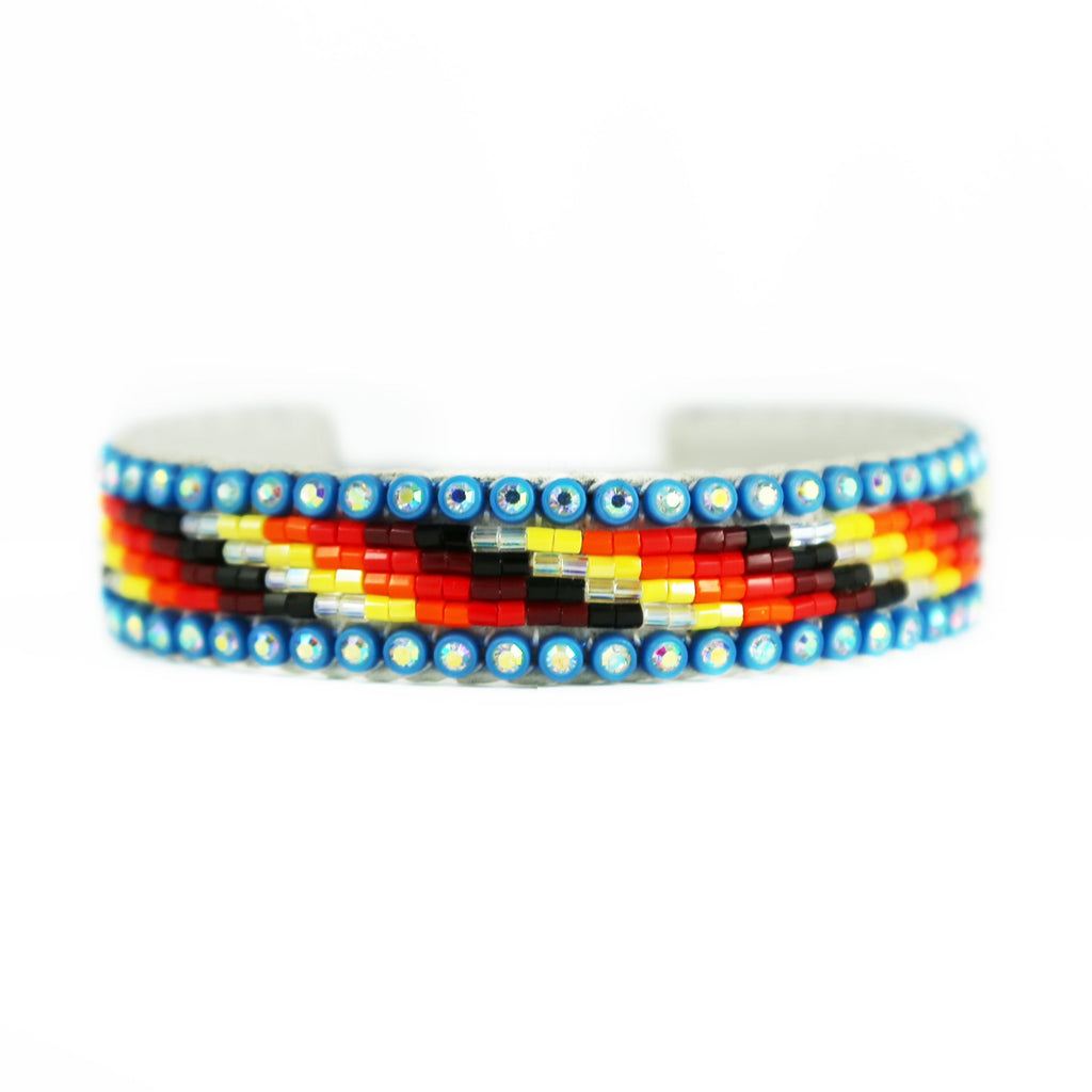 Beaded Blue Crystal Cuff Bracelet