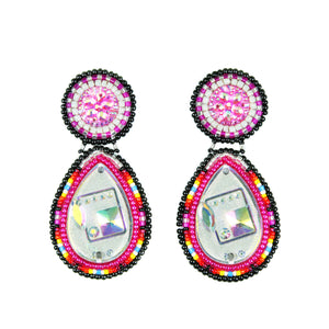 Pink & Black Beaded Bling Earrings
