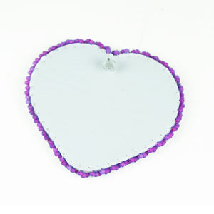 Purple Heart Beaded Bling Earrings