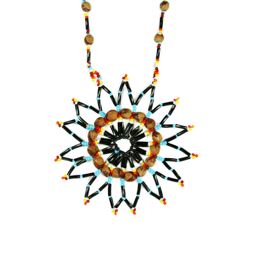 Turquoise Star Beaded Medallion Necklace