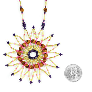 Gold & Pink Star Beaded Medallion Pendant