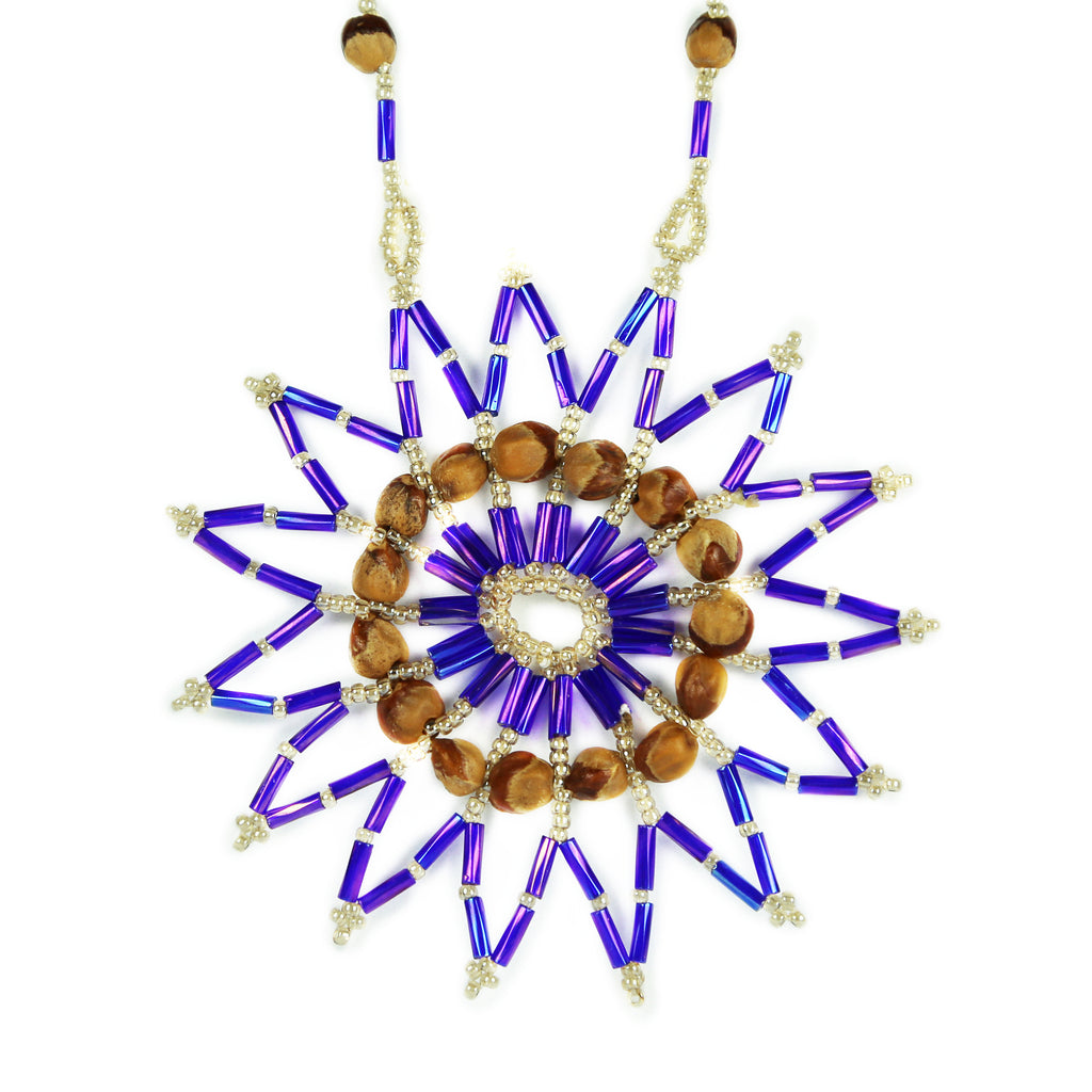 Purple & Cream Star Beaded Medallion Necklace