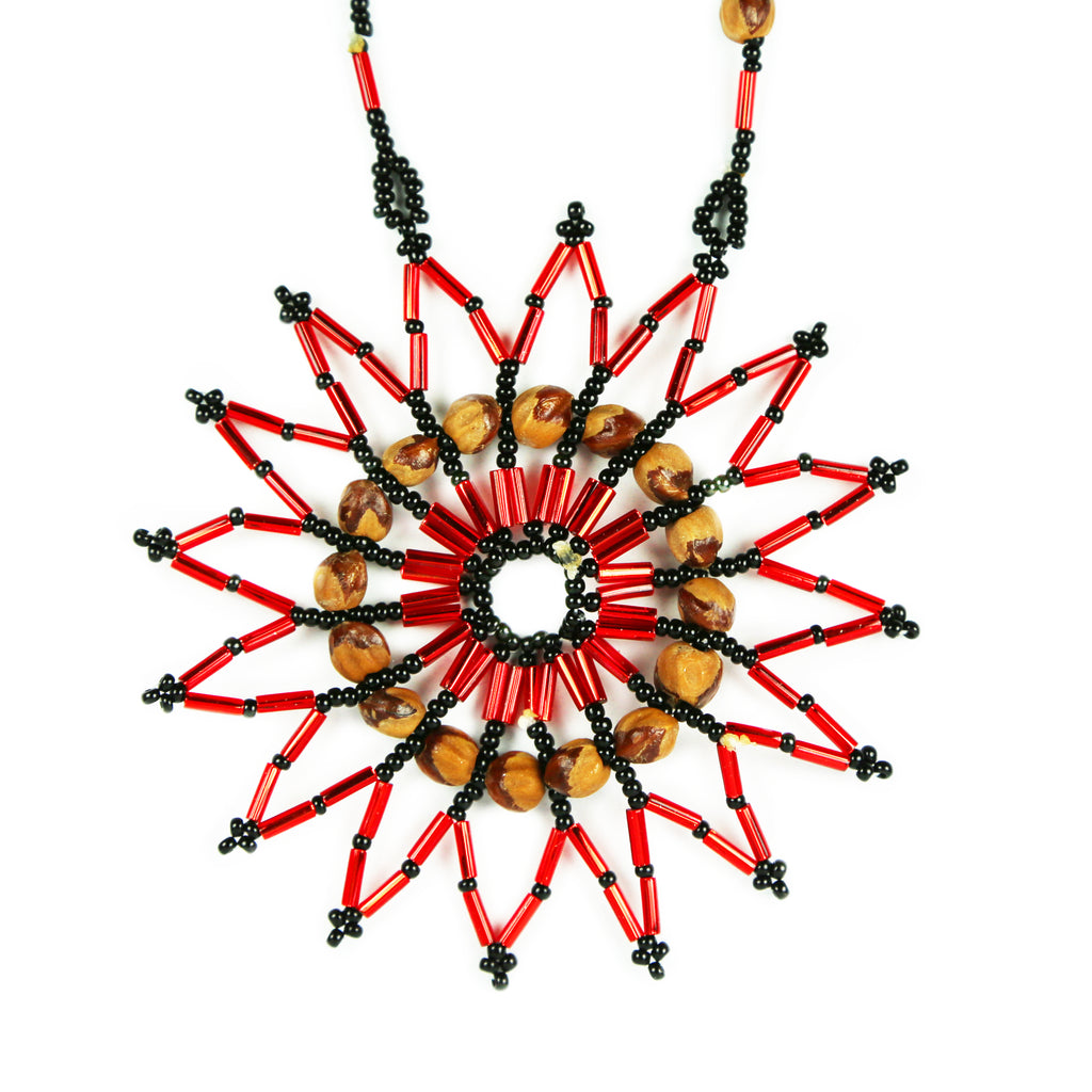 Red & Black Star Beaded Medallion Necklace