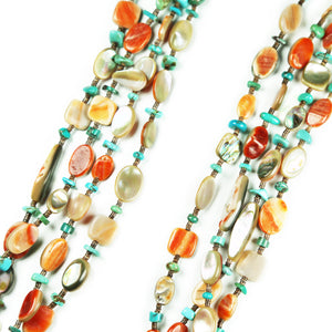 Spiny Oyster Abalone Turquoise 4-Strand Necklace