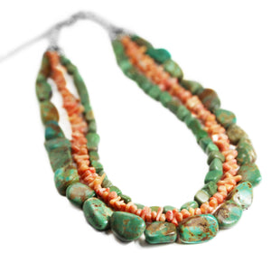 Three Strand Turquoise & Spiny Oyster Necklace