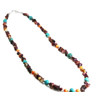 Purple & Orange Spiny Oyster Turquoise Necklace