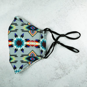 Gray Star Native Print Adjustable Mask