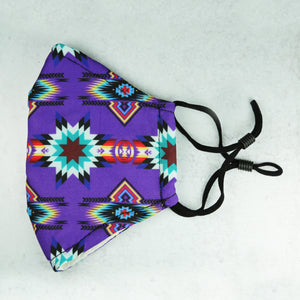 Purple Star Native Print Adjustable Mask