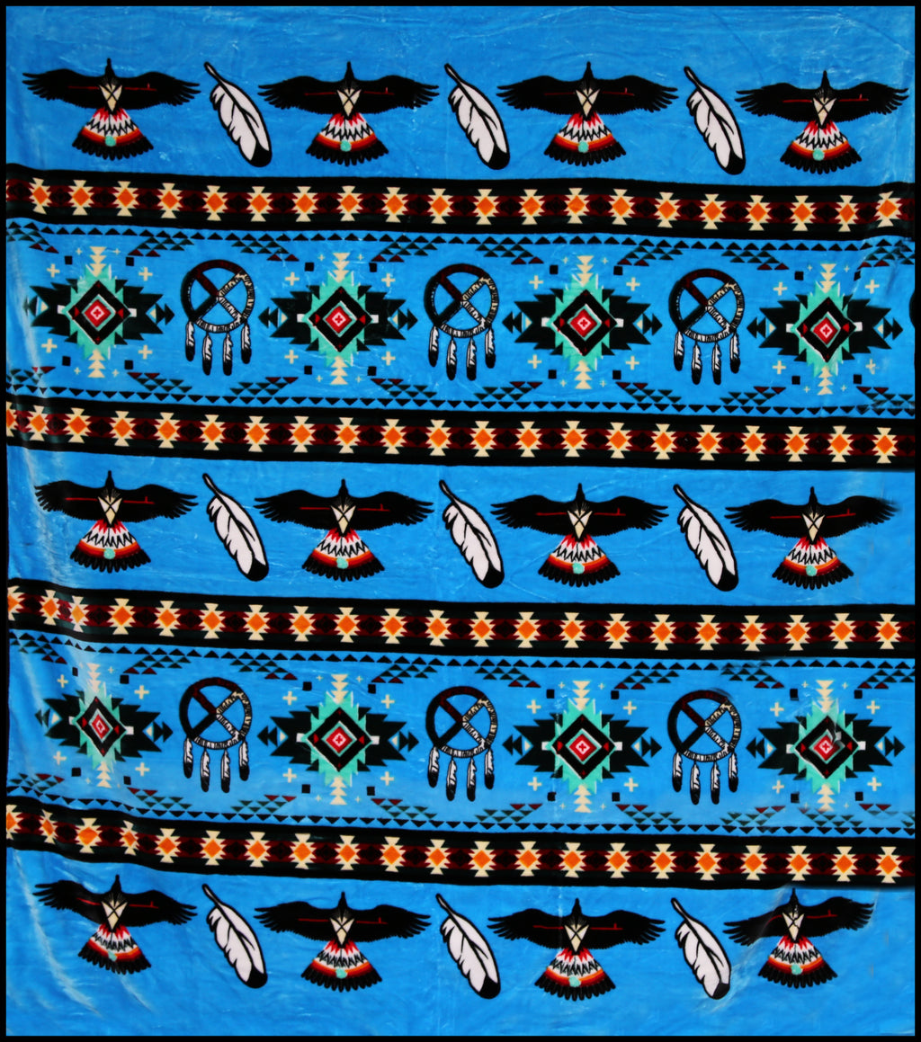 Sky Blue Eagle Feather Native Plush Blanket - QUEEN