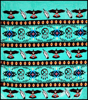Turquoise Eagle Feather Native Plush Blanket - QUEEN