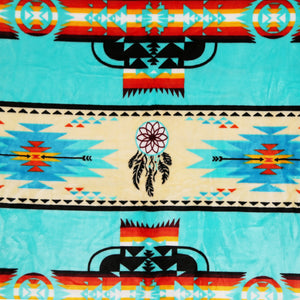 Turquoise Dreamcatcher Native Plush Blanket - QUEEN