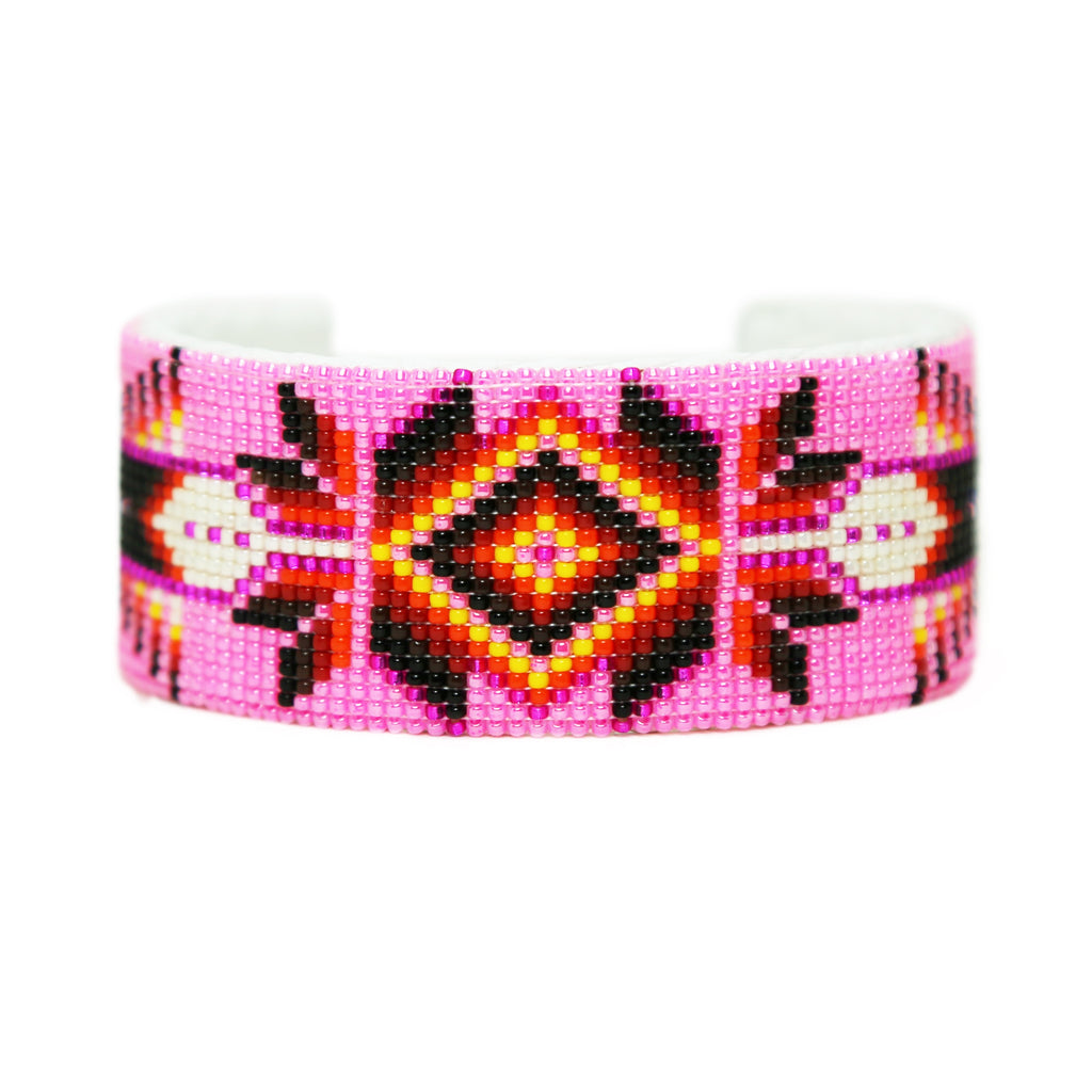 Wide Pink Navajo Beaded Cuff Bracelet