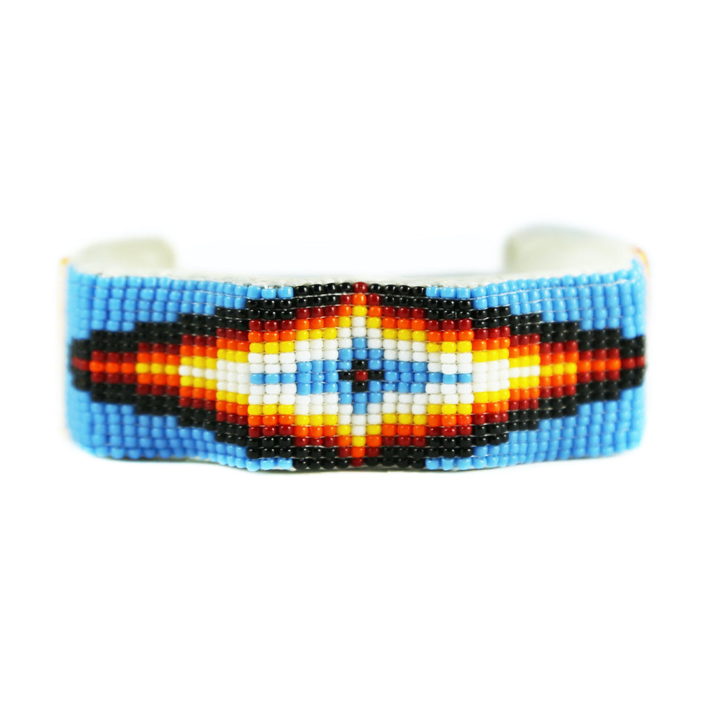 Blue Raised Wave Beaded Cuff Bracelet