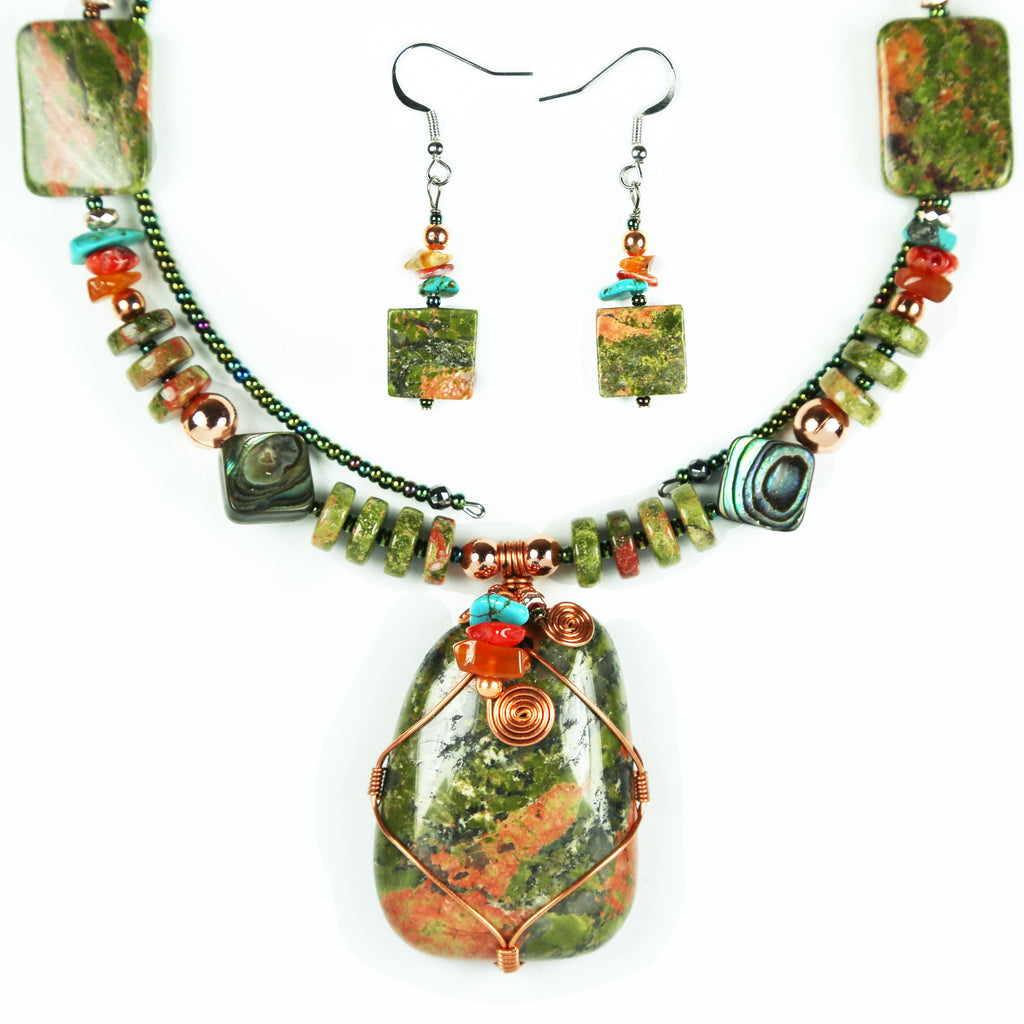 Unakite Copper Wrapped Necklace Set