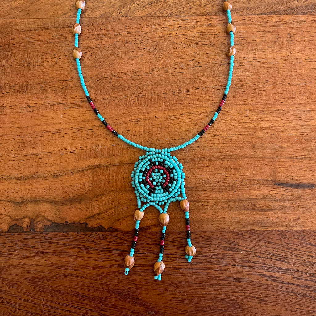 Turquoise Navajo Wedding Basket Necklace