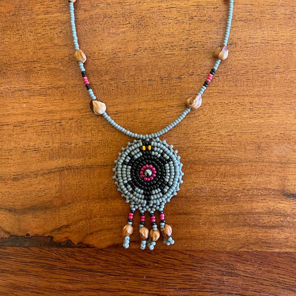 Gray Beaded Turtle Cedar Seed Necklace