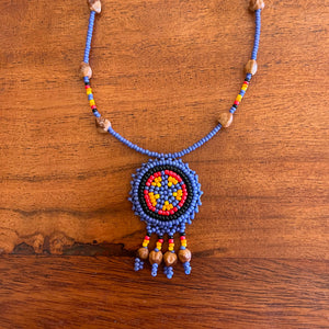 Indigo Beaded Medallion Cedar Seed Necklace