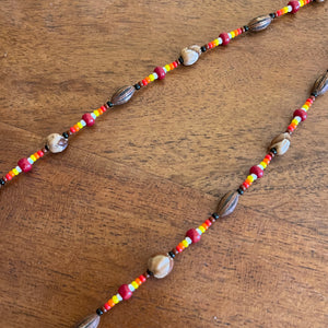 Beaded Feather Cedar & Date Seed Necklace