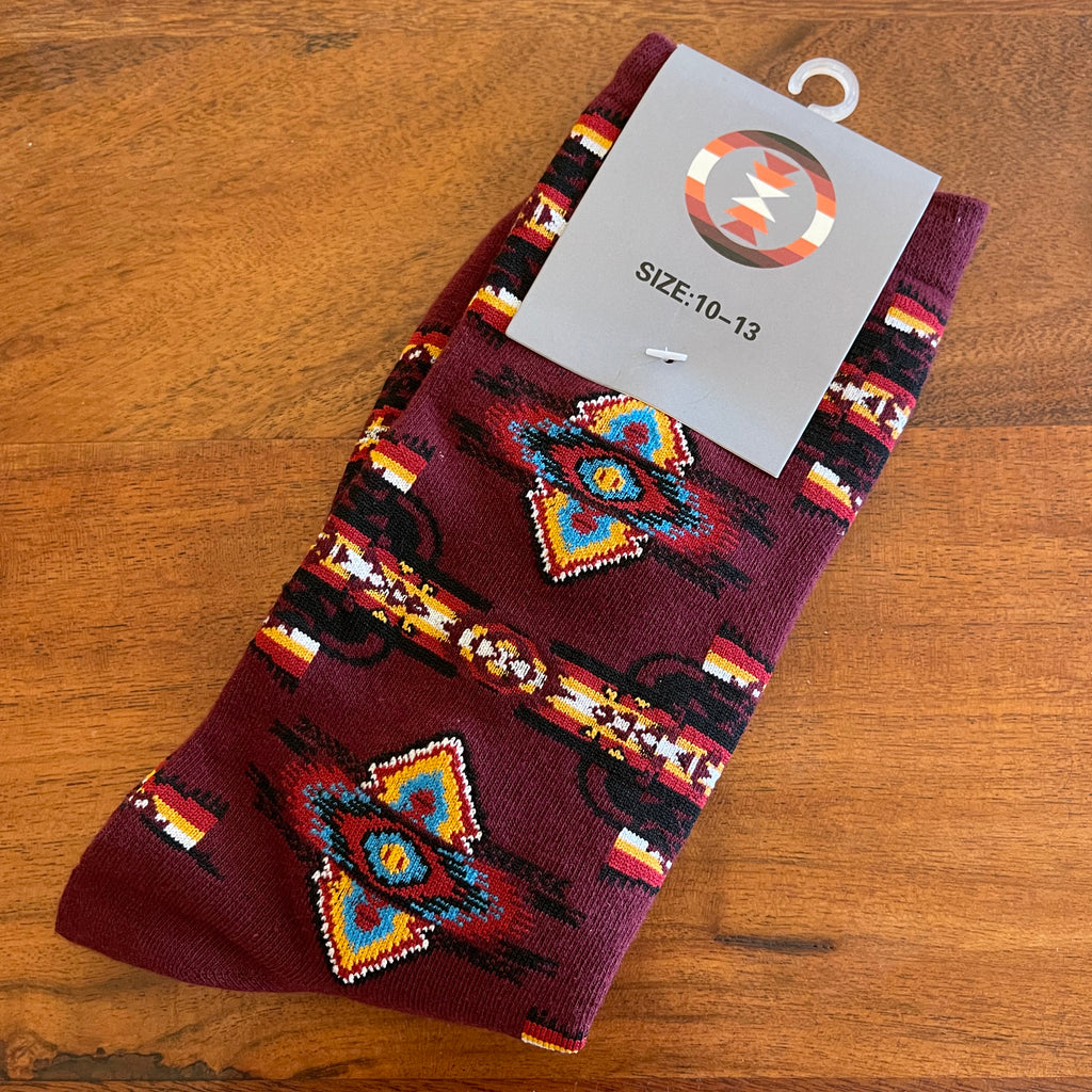 Maroon Native Print Socks