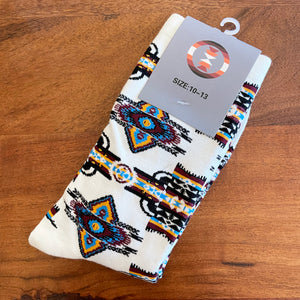 White Native Print Socks