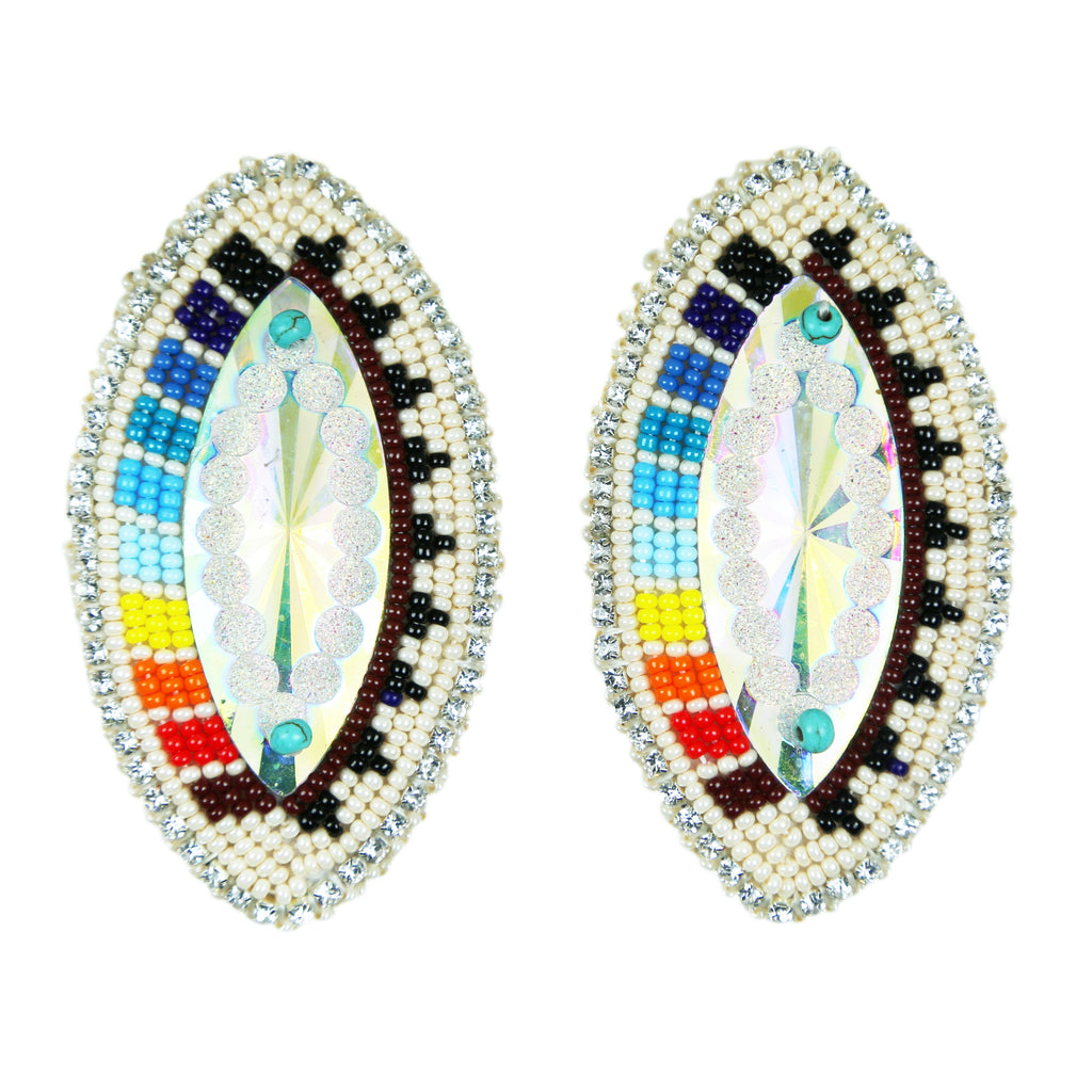 Rainbow Wedding Basket Beaded Bling Earrings