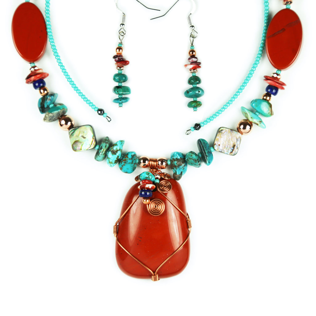 Jasper & Turquoise Copper Wrapped Necklace Set