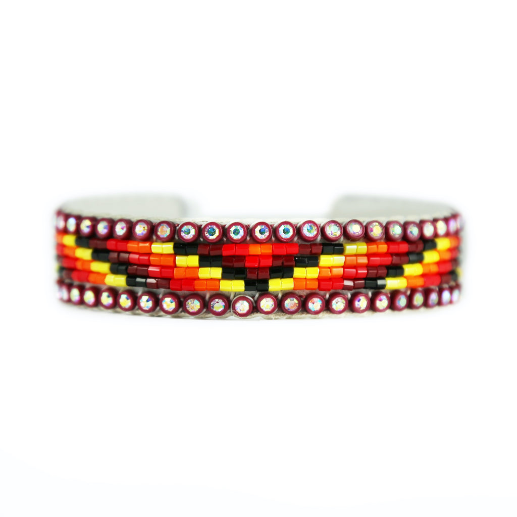 Beaded Maroon Crystal Cuff Bracelet