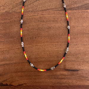 Black Beaded Heishi Single Strand Necklace