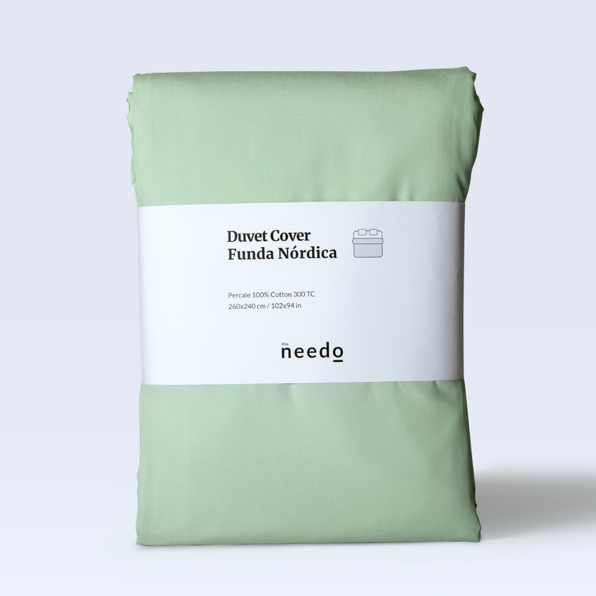Duver cover percale 300 TC - Washed green