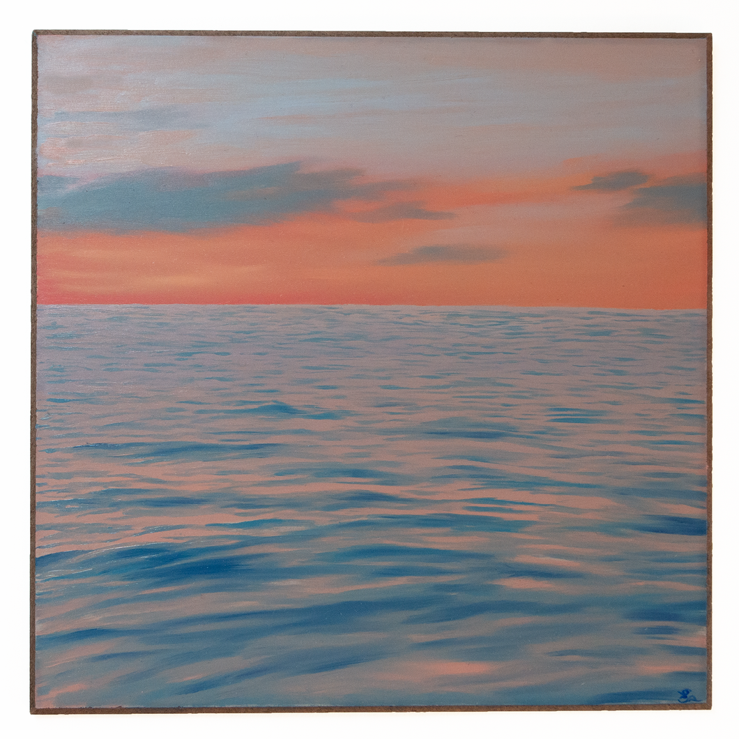 'Peach Sunset' - oil painting on wooden panel