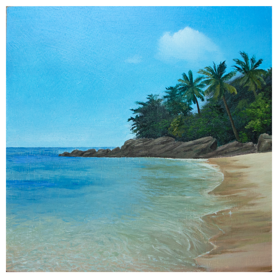 'Tranquil Tropics' - oil painting on wooden panel