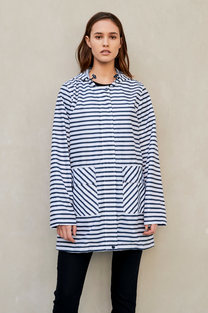 Anyday 3/4 Raincoat - Zig Stripe