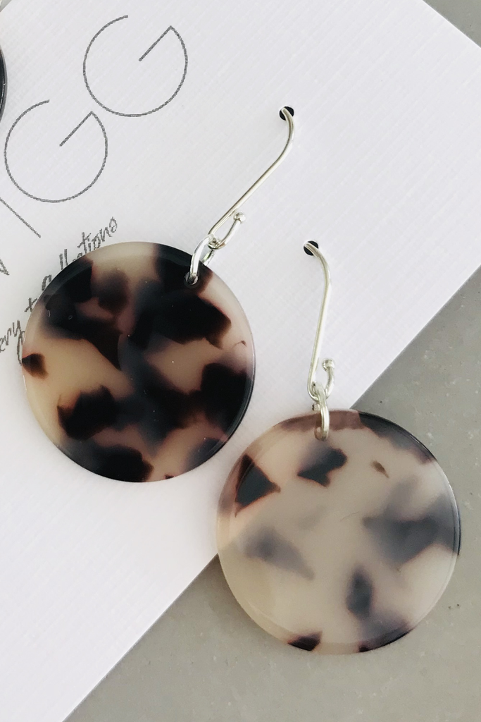Blonde Tort Disc Earrings