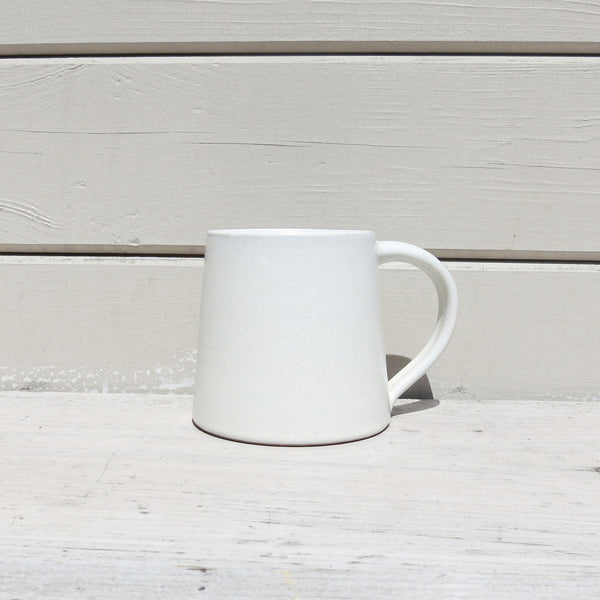 Fair Trade Handmade Glazed Stoneware Conical Mug in Cream