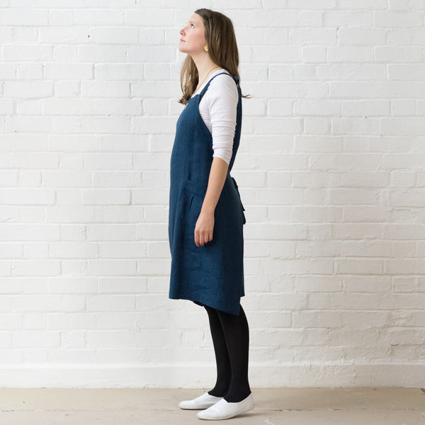 Apron dress - Midnight blue linen
