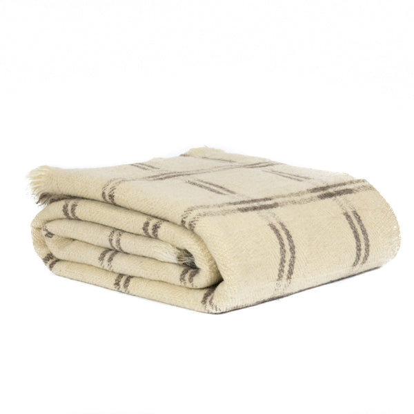 Ivory and Grey Check Rhodope Blanket