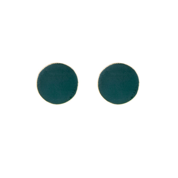 Brass Forest Green Round Stud Earrings