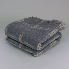 Grey and Ivory Checked Rhodope Blanket