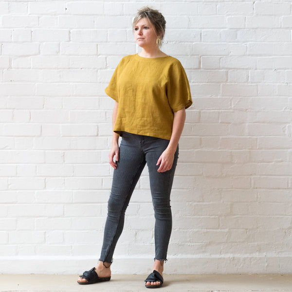 Ochre linen T shirt top