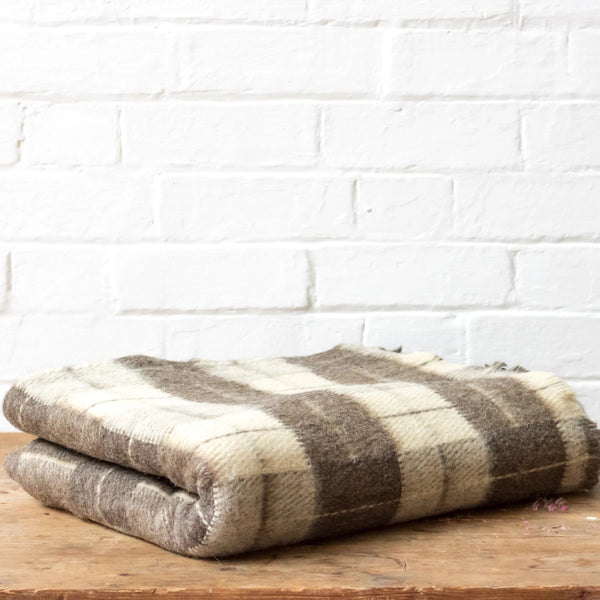 Grey and Ivory Check Rhodope Blanket
