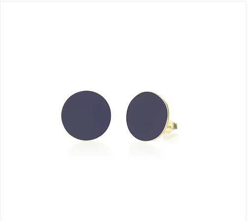 Brass navy round stud earrings