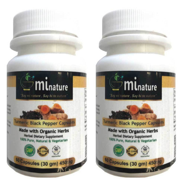 2x 60 Minature 450mg Turmeric Black Pepper Capsules Organic Curcumin Supplement