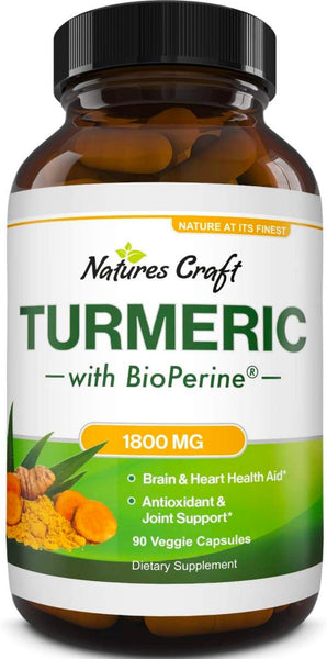 Natural Brain Supplement Turmeric Pills with Bioperine