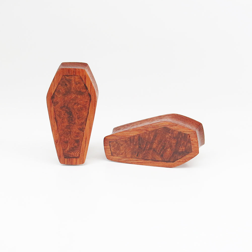 Red Wood Double Flared Coffin Plugs with Burl Walnut Inlay