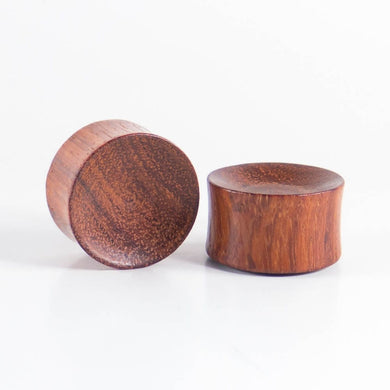 Red Wood Double Flared Concave Plugs