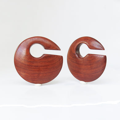 Red Wood Discus Ear Weights
