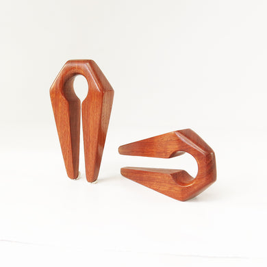 Red Wood Keyhole Ear Weights